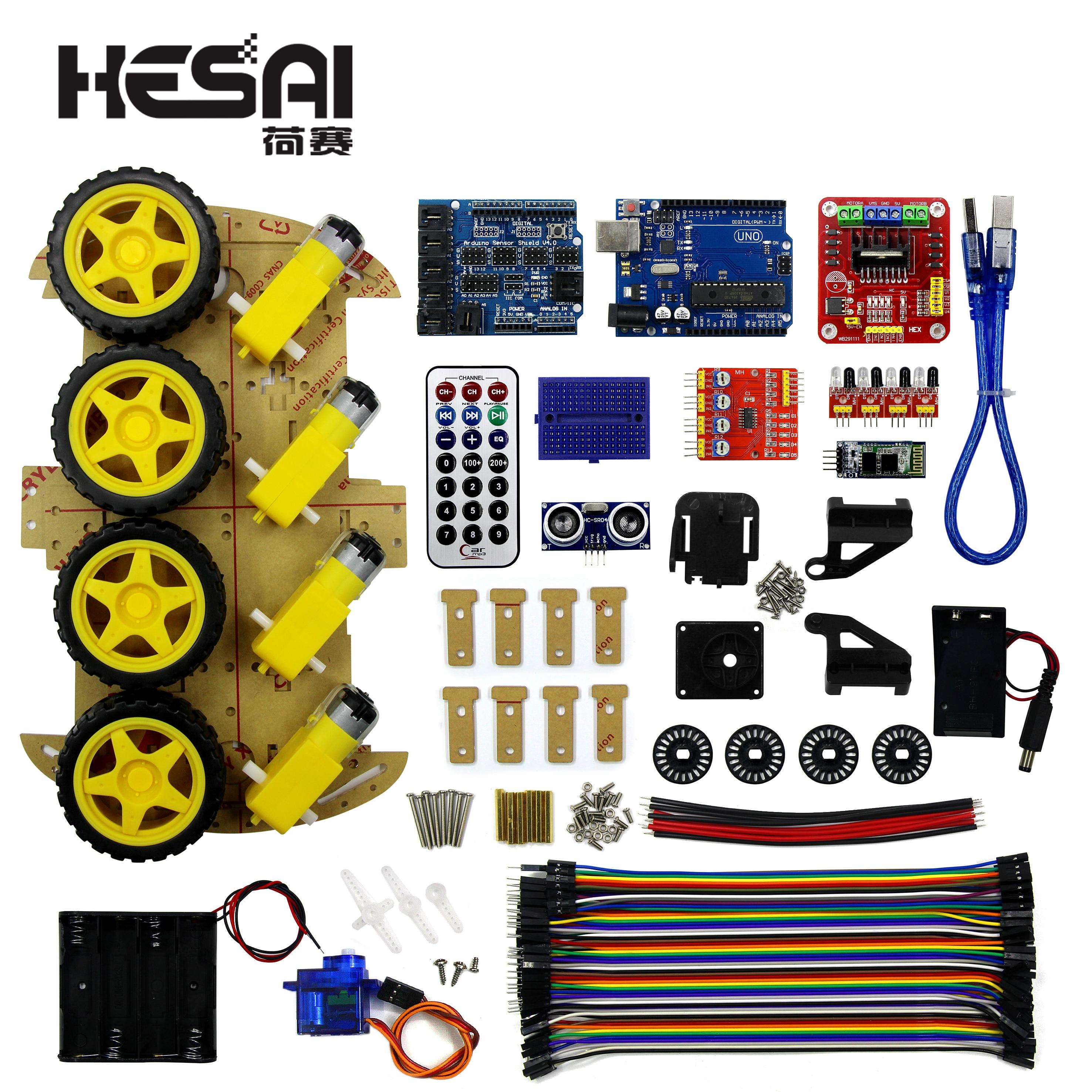Multifonction Bluetooth contrôlé Robot voiture intelligente Kits tonnes de Codes gratuits publiés 4WD UNO R3 Kit de démarrage pour arduino Kit de bricolage