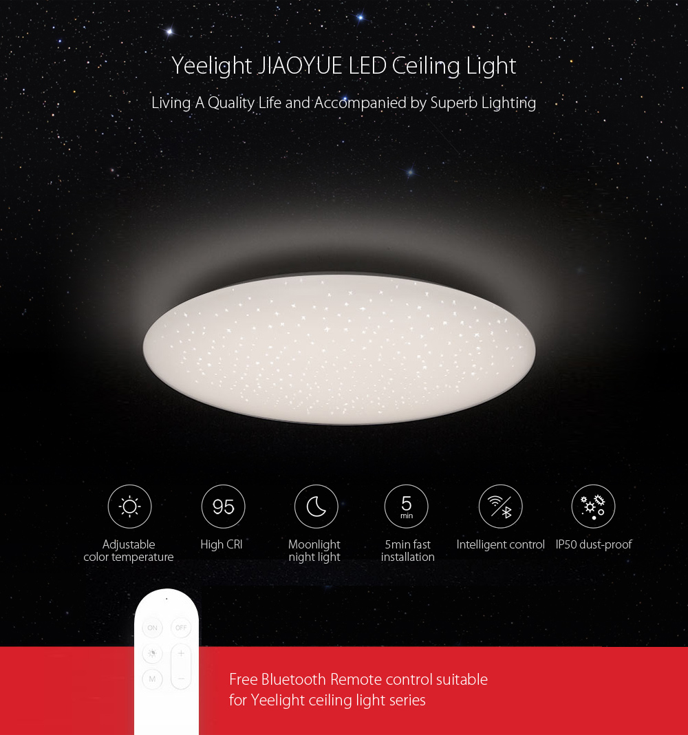 Yeelight JIAOYUE Ceiling Lights Smart APP / WiFi / Bluetooth Control LED Ceiling Lamp Bed Room Lights 200 - 240V Night LightYeelight JIAOYUE Ceiling Lights Smart APP / WiFi / Bluetooth Control LED Ceiling Lamp Bed Room Lights 200 - 240V Night Light