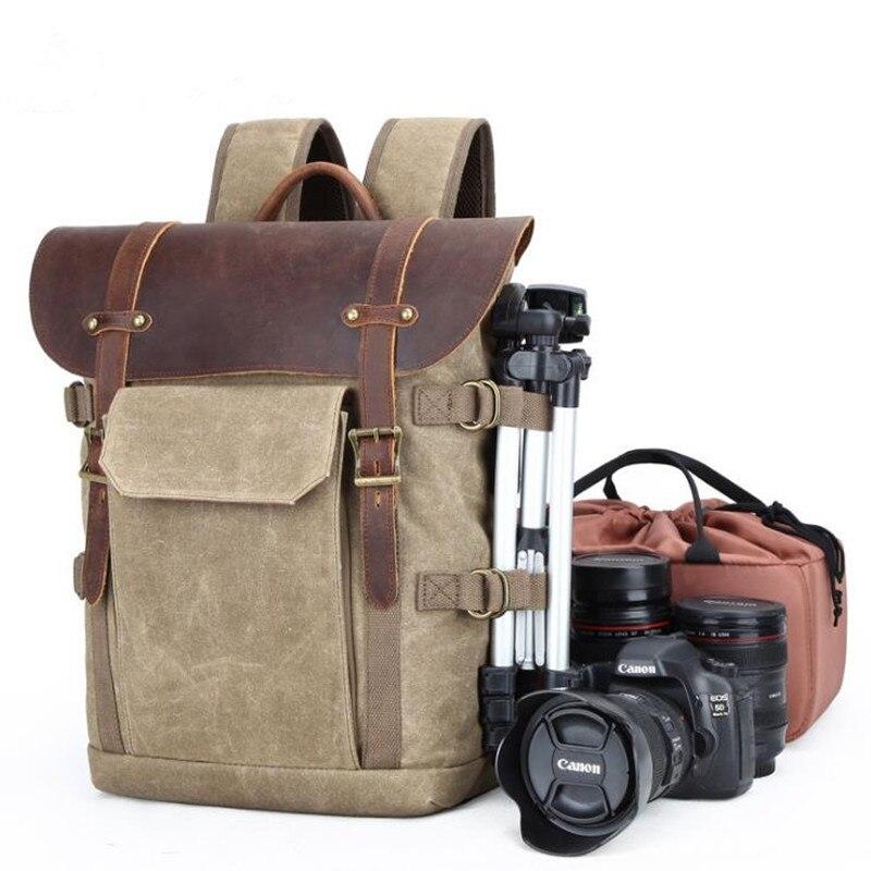 2019 洗練されたミニマリストのショルダーバッグカメラバッグ一眼レフカメラバッグ防水バティックキャンバスレトロファッションカレッジデジタルカメラバックパック  グループ上の スーツケース & バッグ からの バックパック の中 1