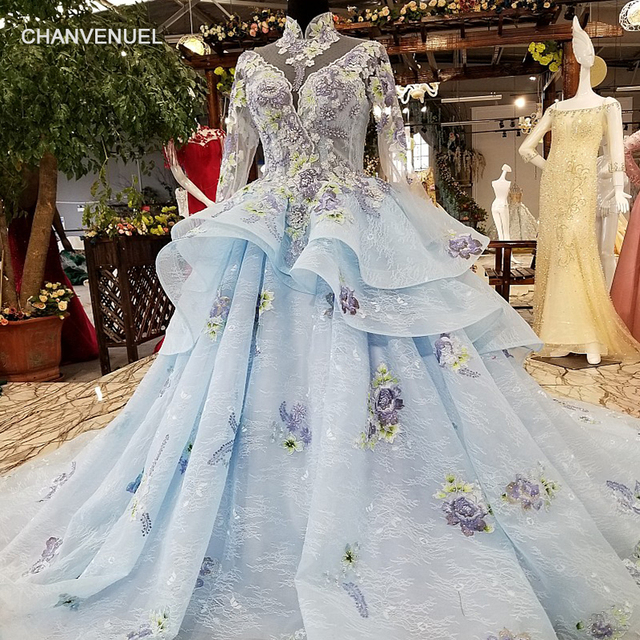 LS12885 light blue evening dress 2018 with train high neck long ...