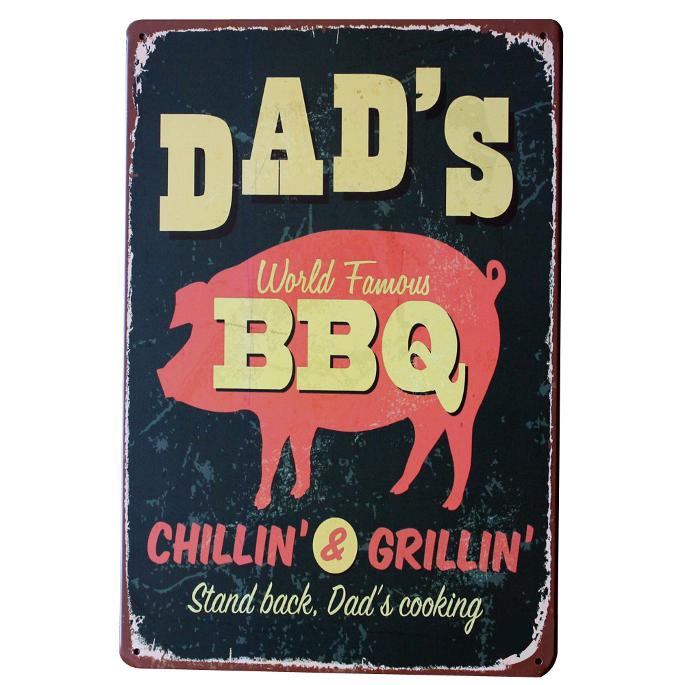 bbq chillin and griilin metal tin decor sign. Black Bedroom Furniture Sets. Home Design Ideas