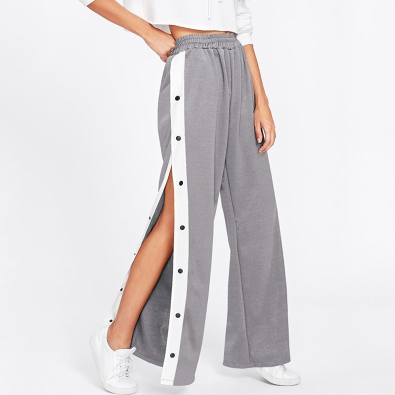 Bigsweety Women Side Stripe Split Wide Leg Pants Casual Loose High Waist Trousers Autumn Sexy Button Buckle Harajuku Pants