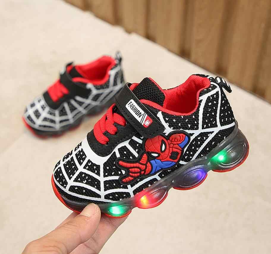 בני Sneaker בנות ספיידרמן ילדים Led נעליים עם אורות Sneaker 2019 אביב סתיו נעלי ילדים פעוט נעלי תינוקת