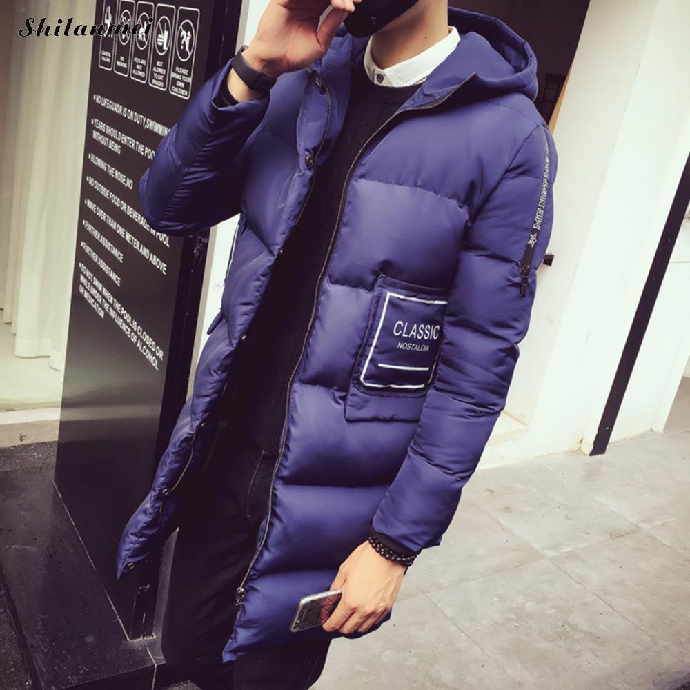 Men's Parkas With Hat Dark Blue Winter Jacket For Men Zipper Black Patchwork Slim Male Coat Light Grey Thicken Warm Outwear 3XL napapijri guji check dark blue