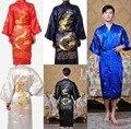 robe kimono man hombre Chinese Cheongsam Men's sleepwear Big Dragon Embroidery Bathrobe nightwear Robe 5 color Free shipping