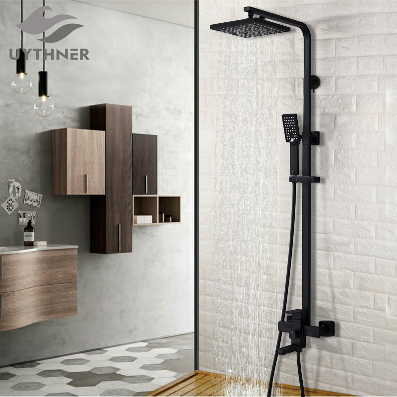 Uythner Bathroom Faucet Matte Black Rain Shower Bath Faucet Wall Mounted Bathtub Shower Mixer Tap Shower