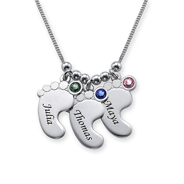 Baby Feet Necklace New Arrival Birthstone Necklaces Custom Any Names Best Birthday Gift For Mom Can