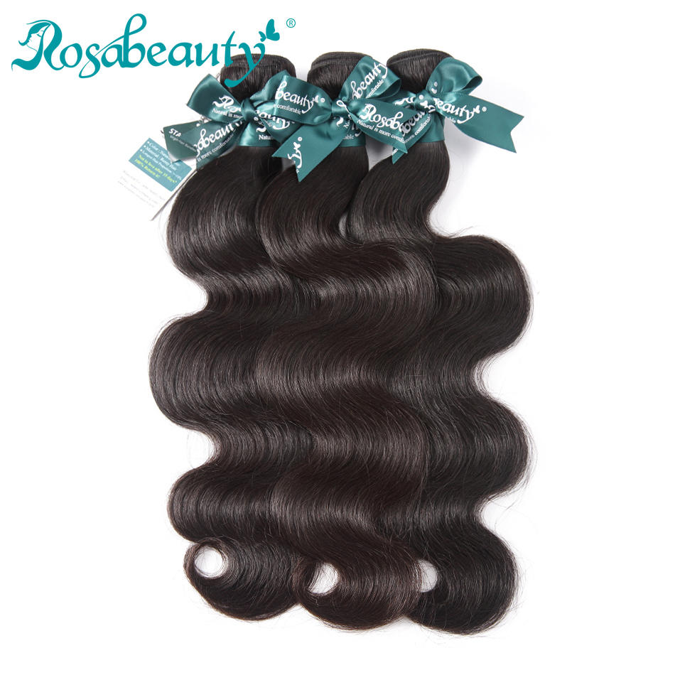 3 Bundles Indian Virgin Hair Body Wave Unprocessed Human Hair Weaves Rosabeauty Hair Products Shipping Free