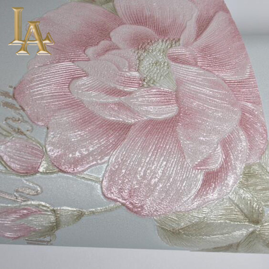Natural floral wallpaper for walls 3 d rose flower design for Bedroom paper