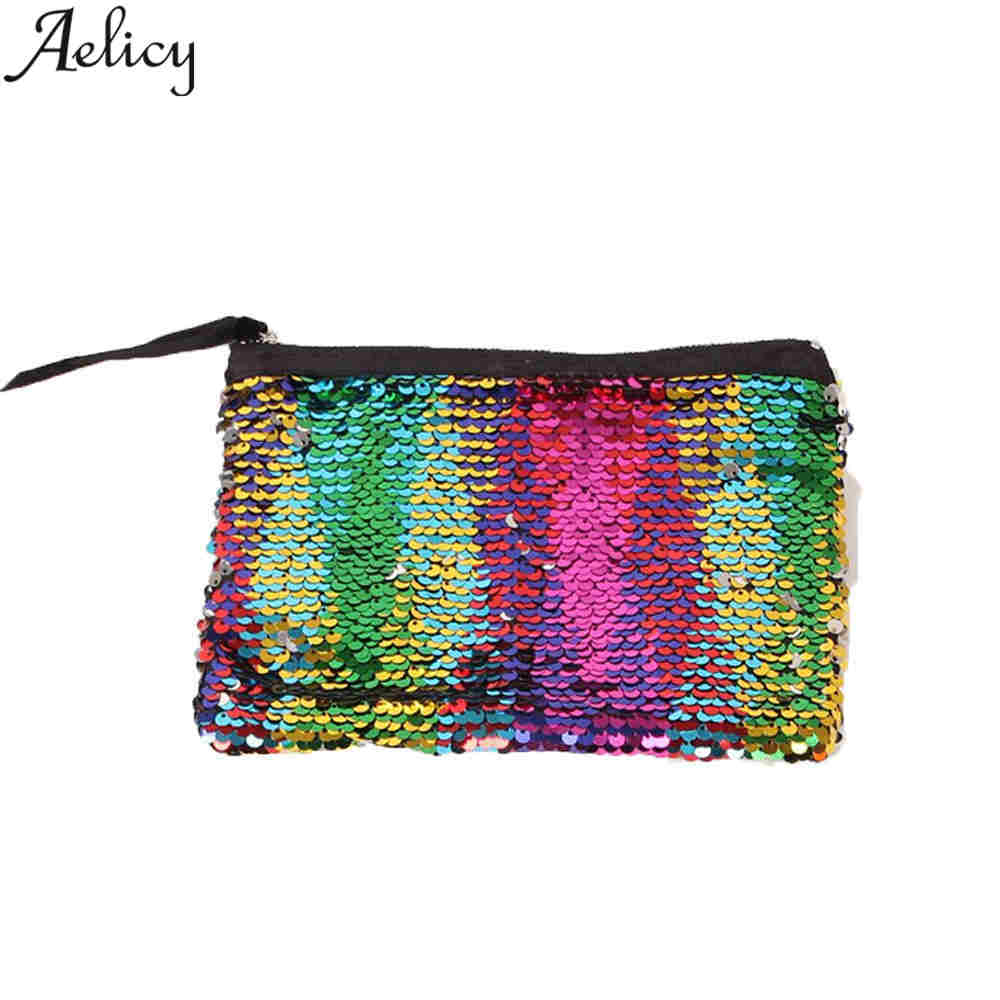 Aelicy 2018 Hot Sale Women Wallets Luxury Brand Wallets Designer Multicolor Color Sequins Purse Long Clutch Women Wallet Female