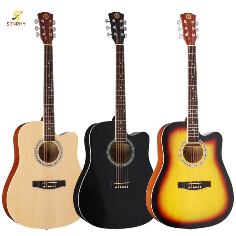 SENRHY 41 Inch 6 Strings Wooden Acoustic Folk Classic Guitar Basswood Guitar with Gig Bag 3 Colors Full Closed Pegs For Beginner 30 34 36 inch novice guitar beginner folk guitar six chord little guitar