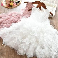 2019 New Flower Girl Dresses Tiered Pink Girl Beauty Pageant Party Dress White Communion Dress For Kids JQ205