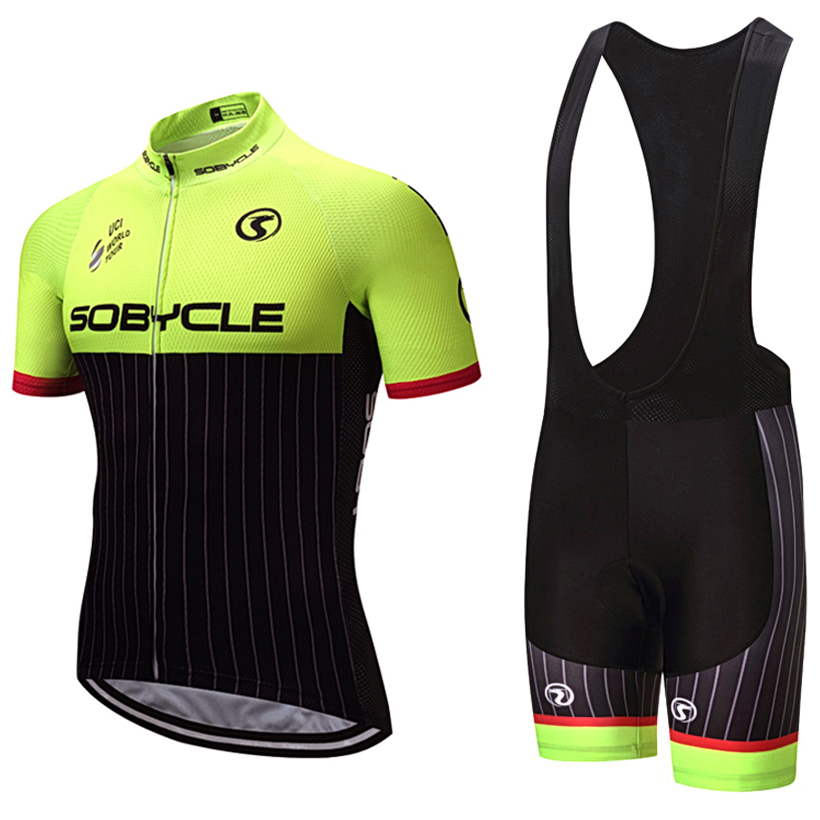 2018 uci sobycle yellow bike jersey Quick Dry Mens Bicycle clothes short sleeves pro Cycling Jerseys gel bike shorts set