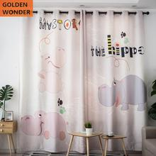 Modern Simple Cute Cartoon Style Alphabet Hippo Pink Customized Curtains For Living Room Kids Children Curtain