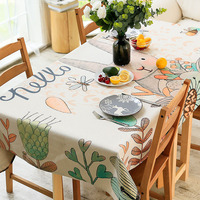 Cartoon Cute Rabbit Living Room Coffee Table Tablecloth Cotton and Linen Rectangular Dust Cover Cloth Dining Table Cloth