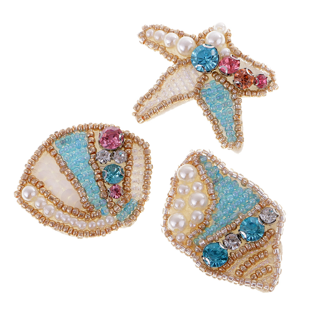Embroidery Beaded Patch Rhinestone Applique Motif Sew On Clothing Shoes Bags