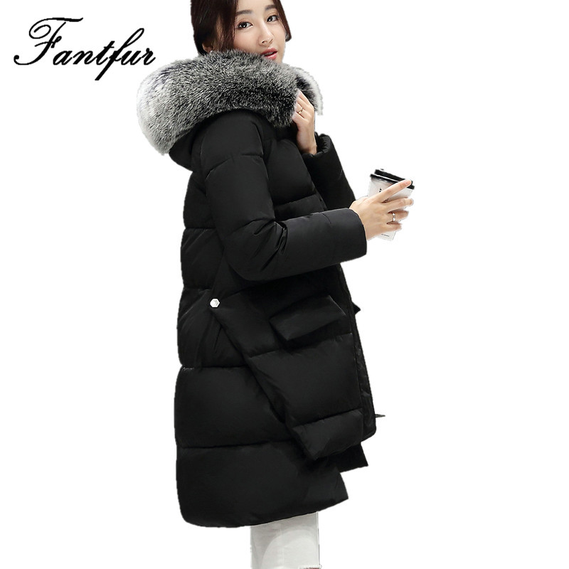FANTFUR 2017 Down Parka Winter Jacket Women Cotton Padded Thick Long Coat Faux Fur Collar Hooded Female Jackets For Woman fashionable thick hooded pleated down coat for women