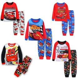 Новый пижамный комплект mcqueen для мальчиков, 95 машин, детская одежда для сна с героями мультфильмов, милые домашние пижамы для девочек, Детски...