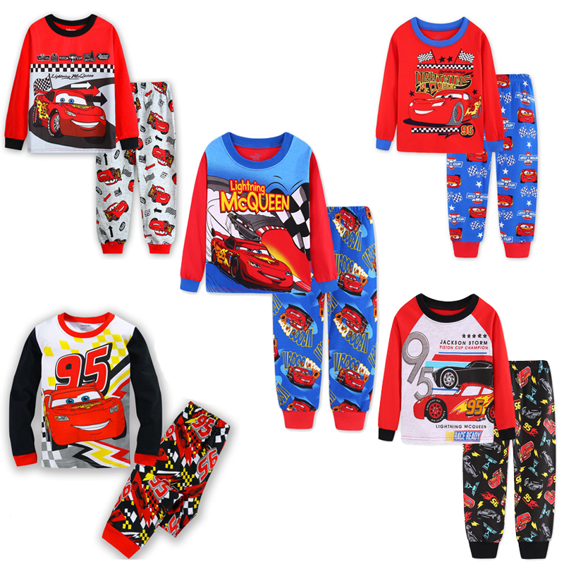 New Boys mcqueen   Pajamas     Set   95 Cars Cartoon kids Sleepwear Girls cute Home   pajamas   Children   Set   Girls cotton pyjamas size 2-7Y