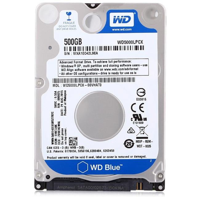 WD Western Digital Blue 500GB Hdd 25 5400rpm 16MB SATA Laptop Internal Sabit Hard Disk Drive HD Notebook Harddisk WD5000LPCX