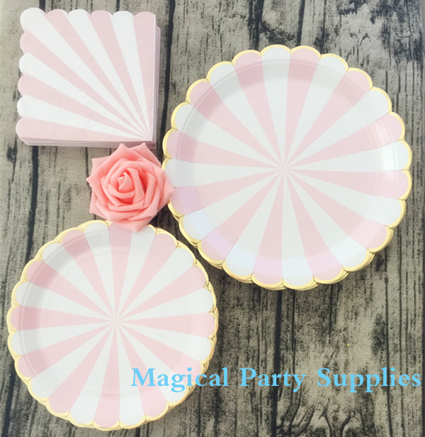 108pcs Tableware Pink Amp Gold Stripe Pape Plates Napkins