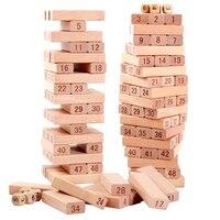 Faggio qualità In Legno Torre 51 Pz Blocchi di Legno Domino Gioco Jenga giocattolo Divertente Regalo Dei Capretti