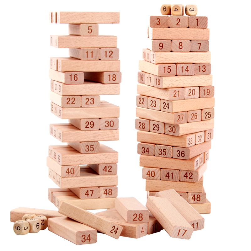 Quality Beech Wooden Tower 51 Pcs Wood Building Blocks Domino Jenga Game toy Amusing Kids Gift mother garden high quality wood toy wind story green tea wooden kitchen toys set