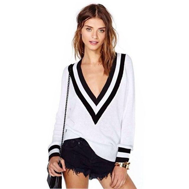 af5e96aba13141 2016 version pullover frauen schwarz weiß streifen V-ausschnitt pullover  bodenbildung shirt pullover stricken lose