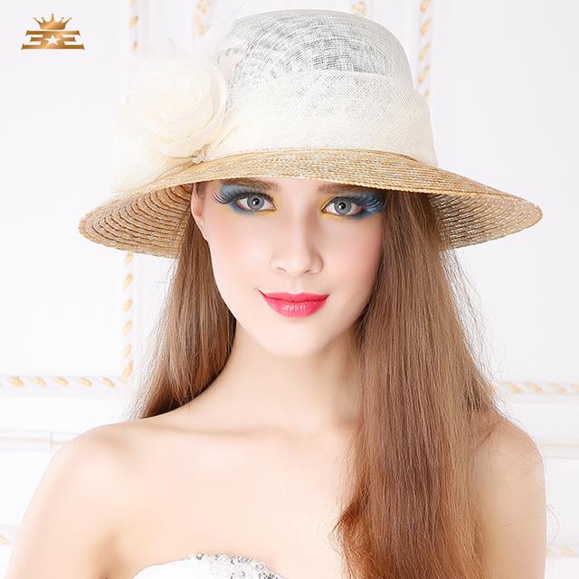 Señora de La Manera Nuevo Sol Femenina Sombrero de Flores Casquillo del Sol Femenina Sombrero de Ala Ancha de Lino marea Niñas Protector Solar Al Aire Libre Del Casquillo Del Ocio B-4846