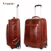 PU Leather Luggage Fixed Casters Suitcase High Quality Travel Bag Zipper Carry Ons Case Wheel Trolley