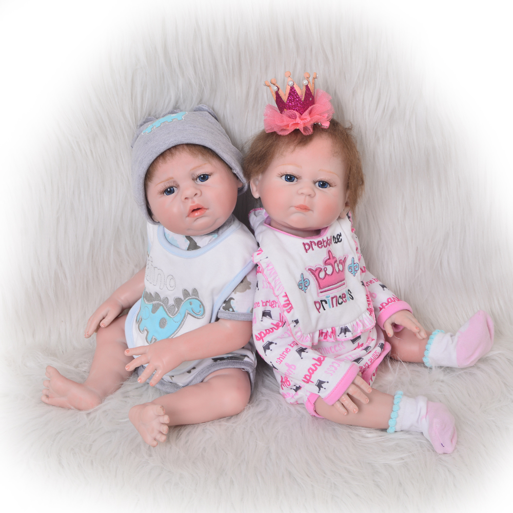 Lovely Girl and Boy Twins Baby Dolls Full Silicone Realistic 20 Reborn Babies with Magnetic Pacifier 2 PCS Kids Xmas Gifts