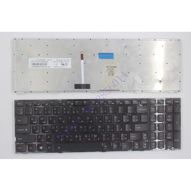 NEW Arabic Laptop Keyboard For Lenovo Y590 Y500 Y510P AR Laptop Keyboard With Frame Blacklight new gr laptop keyboard with frame for samsung 355v5c 350v5c 355 v5x german keyboard