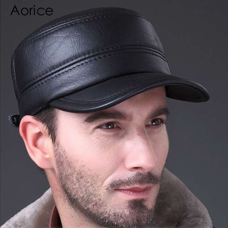 Aorice New Fashion Men s Leather Autumn Winter Warm Hat   Cap Flat Frosted  Fashion Outdoors Sport Adjustable Hat HL064-in Baseball Caps from Apparel  ... 23ed26344c8a