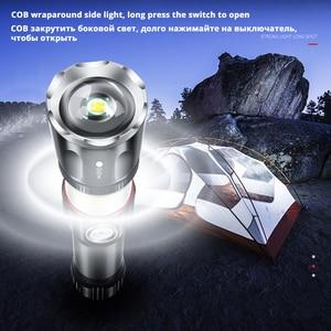 Image 4 - Ładowarka USB wysokiej klasy latarka LED otaczająca lampa cob + magnes tylny designerska podpora zoom 4 tryby oświetlenia wodoodporna latarka