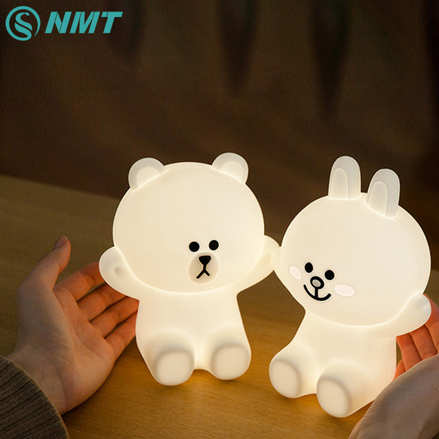 Silicone Bear Rabbit LED Night Light USB Rechargeable Cartoon Night ...