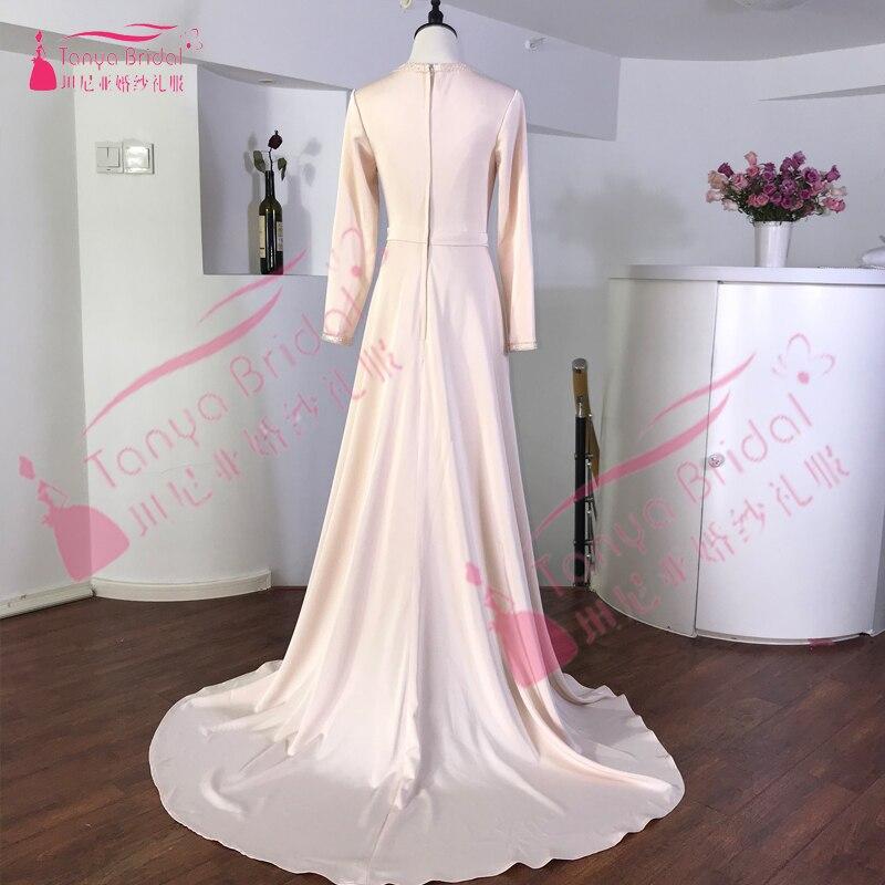 Robe De soirée musulmane élégante caftan marocain 2019 Robe De soirée Dubai dentelle Applique Robe formelle à manches longues femmes Robe De bal - 2