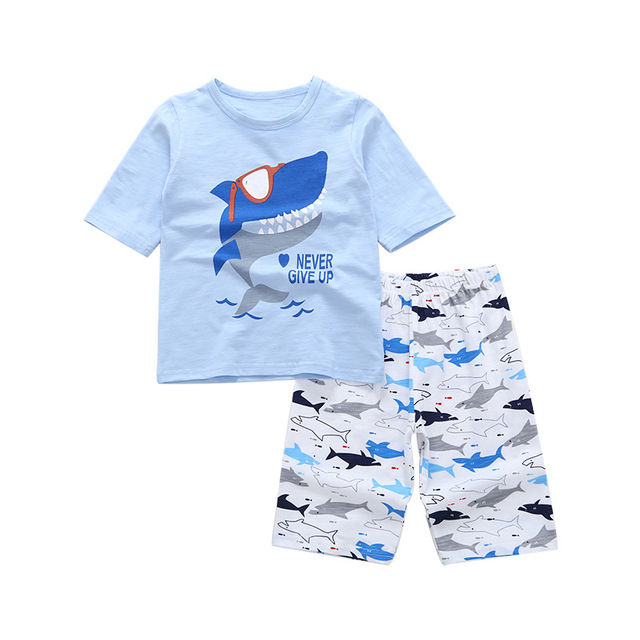12d723a14472 2018 New Summer Cotton Boy Girls Kids Short Shirts+Pants Pajama Sets ...