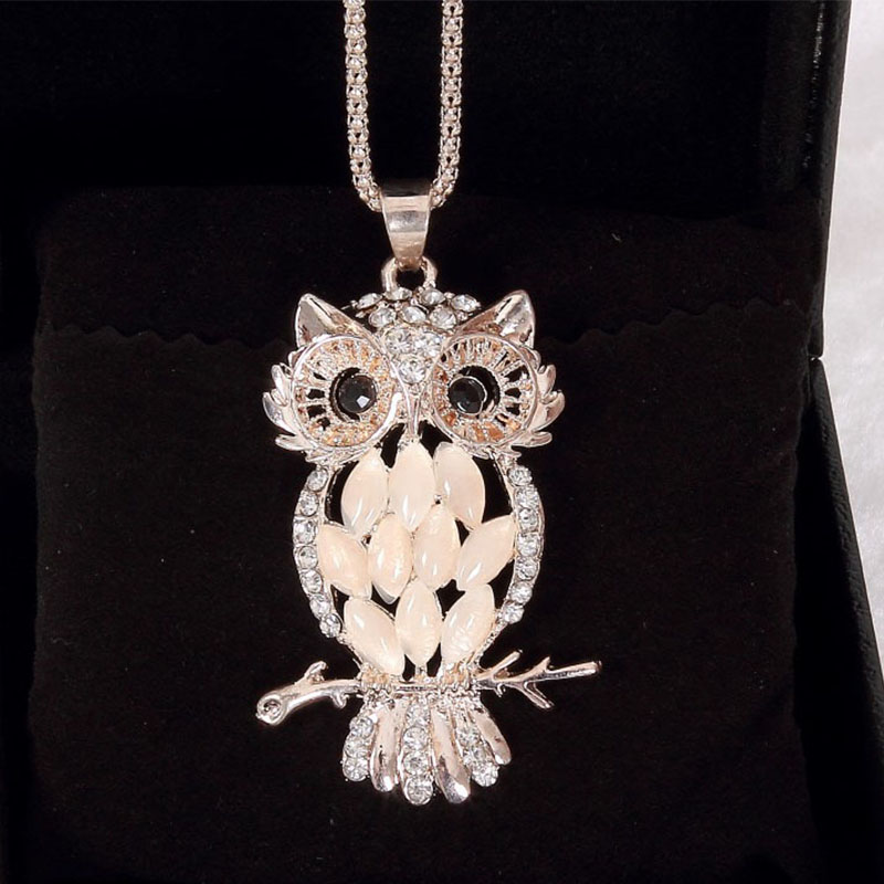 Sale 2017 1PC Sparkling Owl Crystal Charming Sweater Necklaces & Pendants Necklace For Women