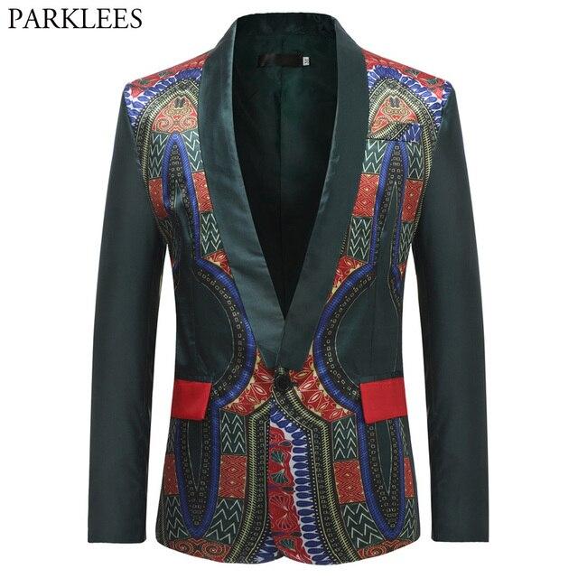 African Dashiki Blazer Jacket Men 2018 Brand New Single Breasted One Button Mens Suit Jacket Fashion Shawl Lapel Blazer Homme