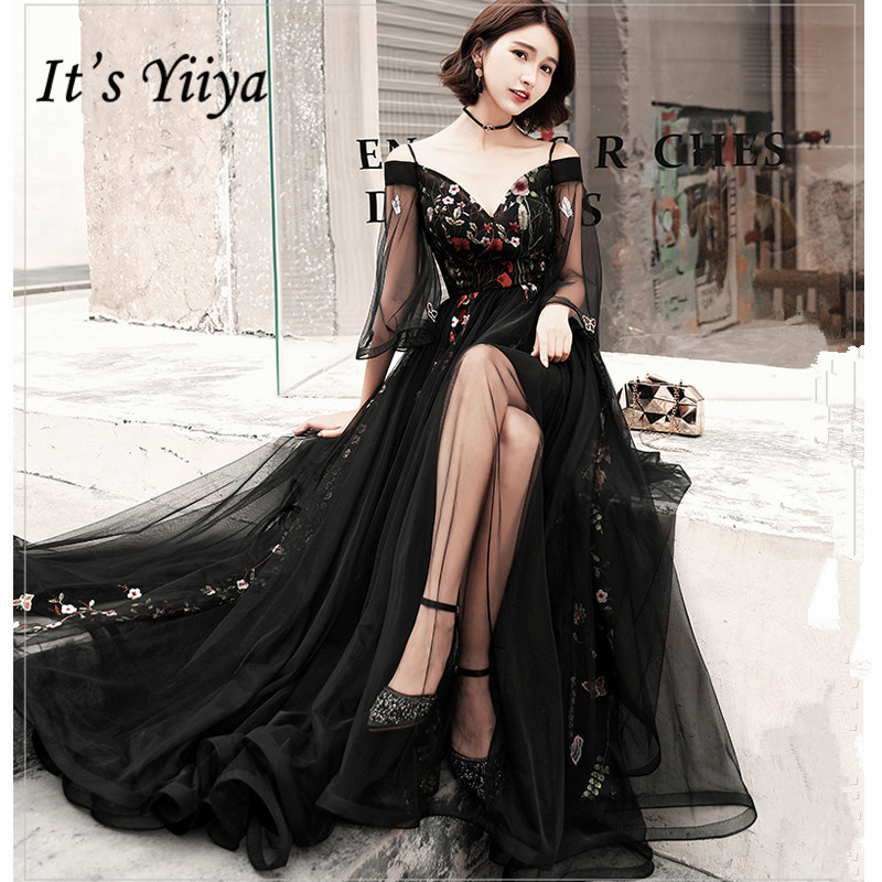 It's YiiYa Evening Dress Black Boat Neck Emboridery Long Dance Party Dress Flare Sleeve Back Zipper Elegant Party Gowns G051