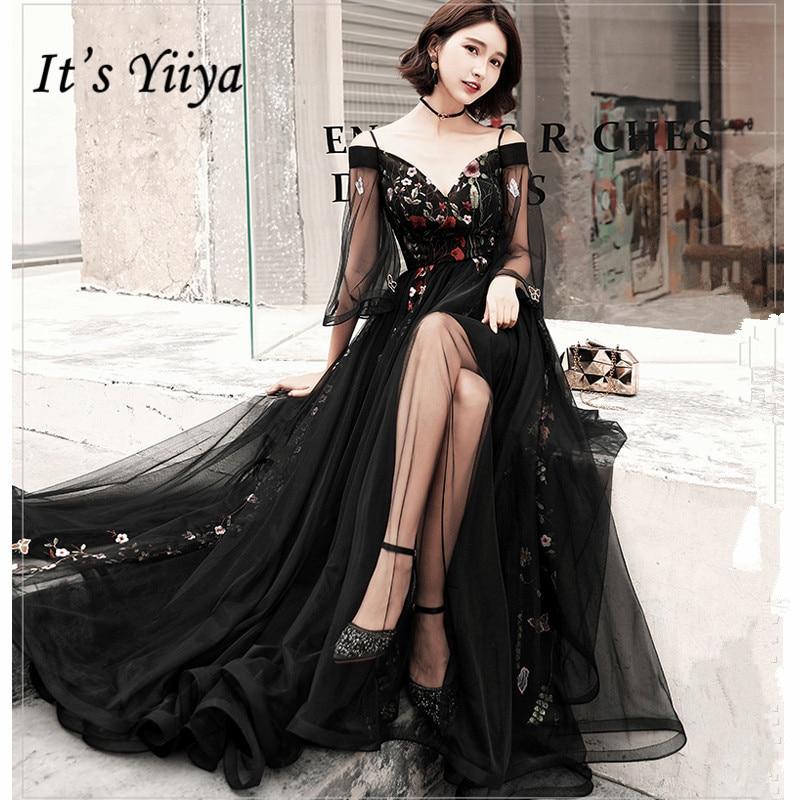 It's YiiYa Evening Dress Black Boat Neck Emboridery Long Dance Party Dress Flare Sleeve Back Zipper Elegant Party Gowns G051