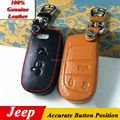 100% Genuine Leather Car Keychain Key Case Cover for Jeep 2011- 2014 2015 Grand Cherokee 2/3/4 Buttons Smart Car Key Chain Rings