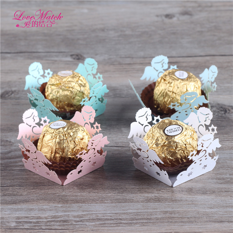50 Pcs Laser Cut Wedding Candy Bar Angel Wedding Favors And Gifts Pearl Paper Chocolate Bar Party Decoration Baby Shower