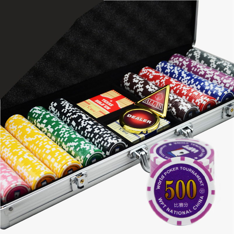 500PCS/SET,12 Kinds Option Luxury Poker Chips Colorful Casino Chips Texas Holdem Poker Wholesale Sets With Metal Box