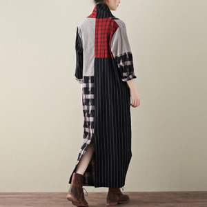 Image 4 - LANMREM 2020 Spring New Casual Fashion Literary Women Loose Plus Chest Cross Long Plaid Cotton And Linen Dress TC399