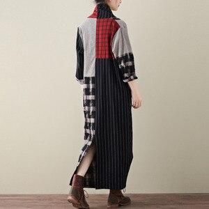 Image 4 - LANMREM 2020 primavera nueva moda Casual mujer literaria suelta más pecho largas y cruzadas a cuadros vestido de algodón y lino TC399