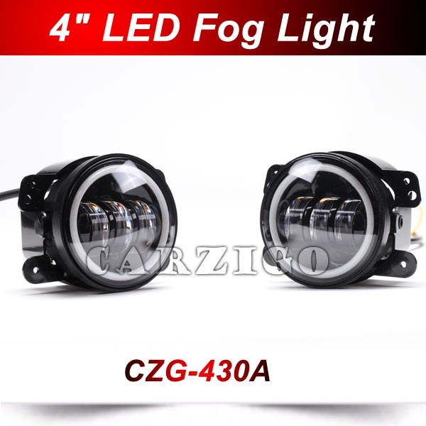 CZG-430A 2pcs 4 inch round 30w led fog lamp with Angel Eye white DRL 4 round led fog light LED headlight for jeep wrangler 4x4