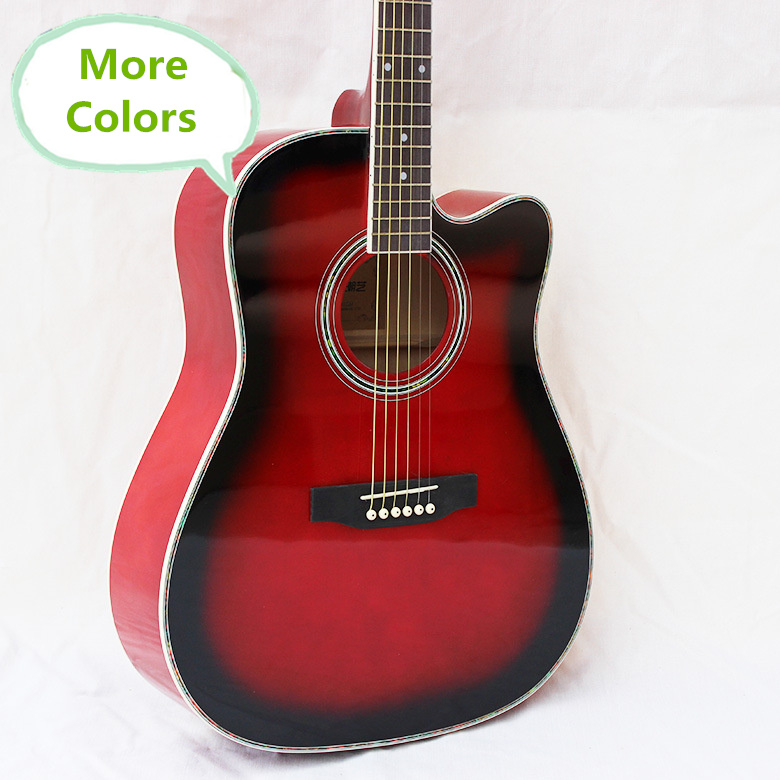 Electro Steel-String Flattop Guitar Dreadnought 41 Inch Guitarra 6 String More Colors Red Blue Pink White Light Body Cutaway