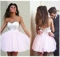 Elegante 2017 Vestidos de Fiesta Una Línea de Novia Corto Mini Pink Tulle Squins Arco Vestidos de Cóctel