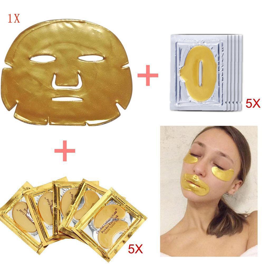 Cristal d'or Bio-Collagène Masque Facial Hydratant Anti-vieillissement Combinaison 5 pcs Lèvres masques + 5 pcs eye masques + 1 masque